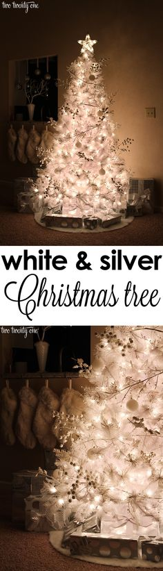 Beautiful white and silver Christmas tree!