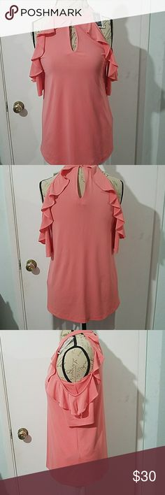 Beige by Eco Coral Top Ruffle Stretch Coral Top Beige by eci Tops Muscle Tees