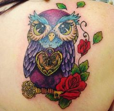 My colorful Owl tattoo cover up! Love!