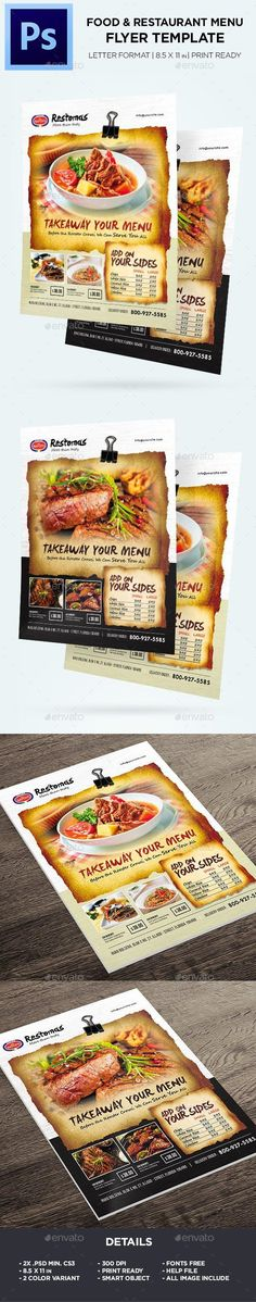 Buy Food Menu - Restaurant Menu Flyer by on GraphicRiver. Food Menu – Restaurant Menu Flyer All elements beside the image are fully editable CMYK – print ready Letter: Thai Restaurant Menu, Restaurant Menu Design, Restaurant Recipes, Mexican Food Recipes, Italian Recipes, Food Menu Template, Menu Templates, Flyer Template, Print Templates