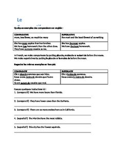 This is a simple, 1-page handout that explains the comparative and superlative with nouns in French.  It ends with a few practice sentences.Fully-editable Word doc.