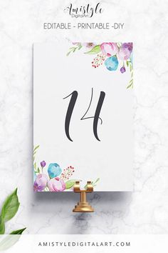 Printable-Editable Table Number - with adorable watercolor floral elements by Amistyle Digital Art on Etsy