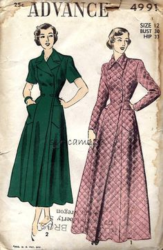 221f12f4e2 Vintage 1940s Double Breasted Housecoat or Robe Pattern Floor or Calf  Length 1949 Advance 4991 Bust
