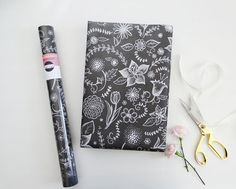 Wedding Gift Wrap - Floral Wrapping Paper - Chalk Art Gift Wrap - All Occasion Wrapping Sheets - Illustration by Valerie McKeehan