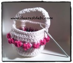 Crochet Flower BasketI got the idea today to make a crochet flower basket today when I saw this cute crochet easter basket set in the crochet lounge. I drew a quick sketch and got to work.My son wanted me to take a picture of our art work so here is ...