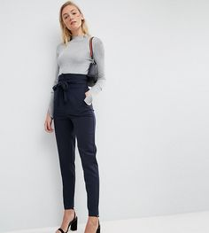 ASOS Tall ASOS TALL Tailored High Waist Tapered PANTS with Tie Waist