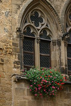 Sarlat-la-Canéda, Dordogne (Périgord), Aquitaine - where even the churches have gloriously beautiful window boxes.