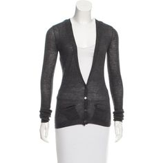 Pre-owned Isabel Marant Pearl-Accented Lightweight Cardigan ($95) ❤ liked on Polyvore featuring tops, cardigans, grey, lightweight tops, gray cardigan, grey cardigan, light weight cardigan and lightweight cardigan