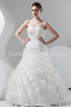 Robe de mariée en taffetas et organza sans bretelles jupe à volants -Robe de Mariée-Les nouveautés
