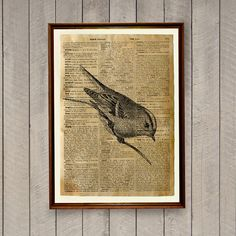 Warbler poster on a handmade antique dictionary page. Cute 8.3 x 11.7 inches (A4) rustic decor. Lovely animal art bird print for home and office.