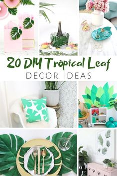 20 Gorgeous and Trendy Tropical Leaf DIY Projects. A palm leaf ring dish, monstera leaf napkins and so many more fun decor ideas to try! Tropical Bedroom Decor, Tropical Decor, Cheap Home Decor, Diy Home Decor, Leaf Wall Art, Tropical Leaves, Decoration, Devon, Easy
