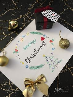 #christmas #caligraphy #merrychristmas #marble #marblepaper #marblegiftpaper #mina #minagraphicdesign #graphic_art #21days #21daystochristmas #christmasballs #gold #christmasbow #bow #goldbow #christmasgift #nametag