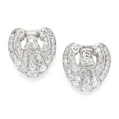 Pair of Art Deco diamond clip brooches, circa 1930