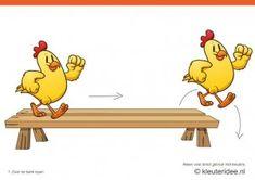 Bewegingskaarten kip voor kleuters 1, over de bank lopen , kleuteridee.nl , thema Lente, Movementcards for preschool,  free printable.