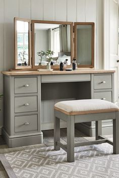 May 2019 - Buy Hampton Dressing Table Mirror from the Next UK online shop Dressing Table Mirror Design, Dressing Table Modern, Dressing Table With Drawers, Bedroom Dressing Table, Dressing Tables With Mirror, Dressing Table Vanity, Bedroom Furniture, Home Furniture, Bedroom Decor