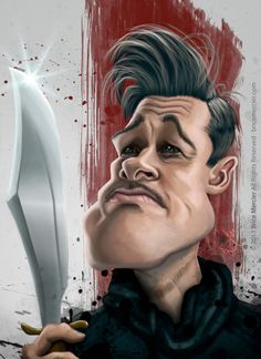 Brad Pitt in Inglorious Basterds Funny Cartoon Pictures, Cartoon Faces, Funny Faces, Cartoon Art, Cartoon Drawings, Brad Pitt, Funny Caricatures, Celebrity Caricatures, Inglourious Basterds