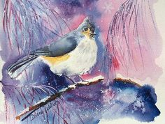 Winter titmouse watercolor private collection