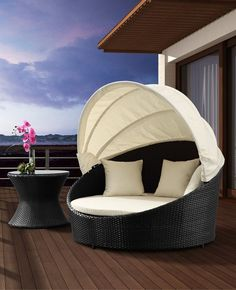 Colva Outdoor Canopy Bed by Zuo Modern at Wholesale Furniture Brokers Canada. The canopy bed features an aluminum frame with a UV protected synthetic weave and water resistant cushions. Backyard Canopy, Garden Canopy, Canopy Outdoor, Canopy Tent, Outdoor Decor, Beach Canopy, Ikea Canopy, Outdoor Furniture, Hotel Canopy