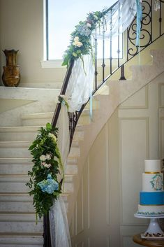 Thistlewood Open House Grand Staircase With Fabric And Fresh Floral Garland