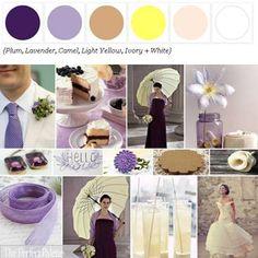lavender, plum, camel, light yellow, ivory