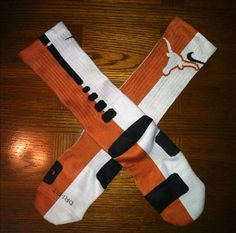 Nike Elite Socks decorated with Texas Longhorns