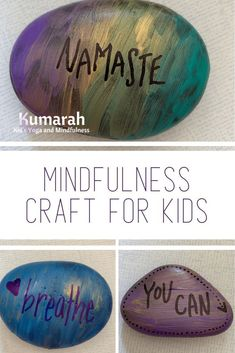 A simple DIY mindfulness craft for kids. Make affirmation rocks to help support kids in learning how to be mindful and bring mindfulness to their day. Kids Learning Activities, Teaching Kids, Classroom Activities, Group Activities, Indoor Activities, Therapy Activities, Craft Projects For Kids, Project Ideas, Art Projects