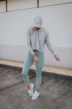 Grey crop hoodie + Alo Yoga leggings
