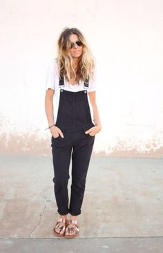 Dungarees and gold Birkenstocks