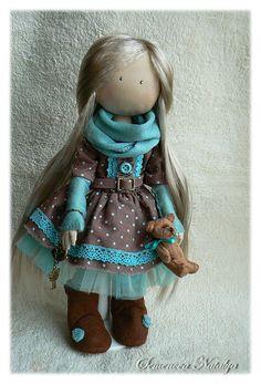 Купить Девочка с мишкой, мята в молочном шоколаде - девочка, кукла ручной работы, кукла в подарок