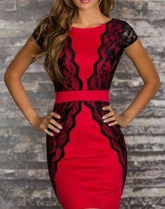 72e875cea9e Short Sleeves Scoop Neck Backless Lace Embroidered Stitching Beam Waist  Packet Buttock Sexy Women s Dress Christmas