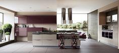 Purple kitchen with ultra modern appliances
