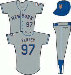 New York Mets Road Uniform (1995) - New York in blue with an orange outline on a grey uniform with blue piping