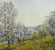 """EDWARD WILLIS REDFIELD (American 1869-1965) """"EARLY MORNING SUNLIGHT, SPRING"""" Signed 'E.W. Redfield' lower right; also inscribed 'Early Morning Sunlight, Spring $5,000' in pencil on upper stretcher, oil on canvas 50 x 56 in. (127 x 142.4cm) In an original Harer frame. #FreemansAuction"""