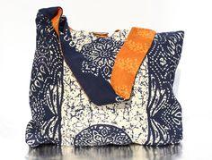 The Cross-Body Bag in Blue/Orange Pattern $35.00 #handmade #nonprofit