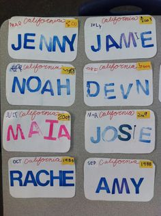 Transportation month-License plates- kids wrote the month and year they were born- blue room