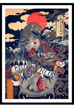 RLoN Wang's Vivid Illustrations Depict Dynamic is part of Japanese artwork RLoN Wang's Vivid Illustrations Depict Dynamic Scenes of Nature and East Asian Mythology - Japanese Artwork, Japanese Painting, Japanese Prints, Art And Illustration, Illustrations And Posters, Fantasy Kunst, Fantasy Art, Art Chinois, Art Asiatique