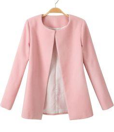 Abrigo de lana manga larga-rosado 23.92