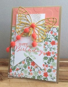 Lovely job using new Butterfly Basics by Jan McQueen. Love the Calypso Coral Pom Pom trim! Card stock: Brushed Gold, Crisp Cantaloupe, WW, Gold Foil Specialty DSP: gold soiree Inks: Pistachio Pudding, Crisp Cantaloupe, Encore Gold Stamps: Butterfly Basics (Sneak peek) Access: BS, butterfly thinlits, Calypso coral Pom pom Trim, Banner Framelits, Large polka Dot EF, gold ribbon,