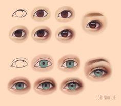 Asian vs Caucasian Eye Steps by Dorinootje