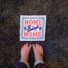 Home sweet home cross stitch completed, utterly beautiful! Sweet Home, Cross Stitch, Projects, Diy, Crafts, Inspiration, Beautiful, Log Projects, Biblical Inspiration