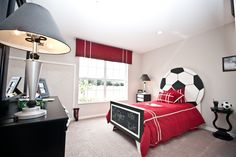 Soccer, anyone? Sports themed bedroom for your little athlete. Highland Homes' model home in Imperial Lakes, Mulberry, Florida.