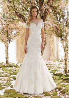 Morilee Bridal Madeline Gardner Delicately Beaded Venice Lace Appliques on Soft Net Wedding Dress