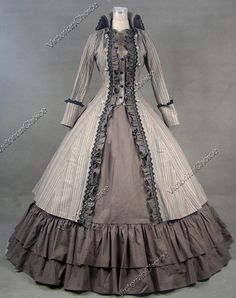 Victorian gown. Not Historically correct for any era, please note. The bodice is 1890-1905 type, but the skirt is 1860's. But a beautiful creation, none the less.