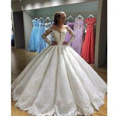 2018 Appliques Long Sleeve Tulle Wedding Dress aa4b012c1d5c
