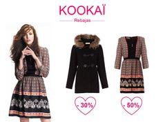 Kookai Rebajas Invierno 2013 - Hoy te proponemos nuestro vestido estampado ingles con un abrigo negro de lo más estiloso. Un look glamour y con descuentos!!!