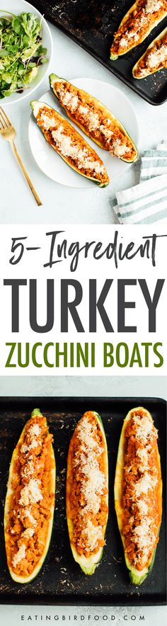 Healthy turkey zucchini boats that consist of 5 ingredients? Is this real life? This dinner is comforting and so simple to make. Low-carb, paleo-friendly and gluten-free. Turkey Recipes, Paleo Recipes, Low Carb Recipes, Real Food Recipes, Cooking Recipes, Protein Recipes, Paleo Dinner, Easy Dinner Recipes, Dinner Ideas