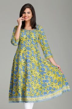 Stunning Yellow & Blue Floral Anarkali Cotton Kurta by Farida Gupta