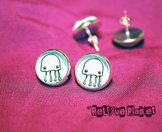 JELLYFISH EARRINGS Kawaii Animal  Glass cabochon by ReLovePlanet