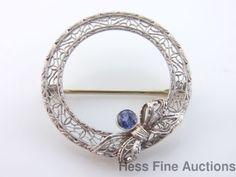 Antique 14k White Gold Filigree Natural Sapphire Circle Ribbon Bow Brooch Pin
