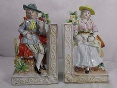 2 Vintage Victorian Man & Woman Mini Figurines Porcelain Bookends Japan By Wales #Wales
